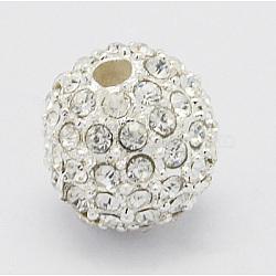Perles en alliage, avec des strass, Grade a, rond, argenterie, clair, taille: environ 10 mm dans le trou de diamètre: 2 mm(X-RB-Q060-2)