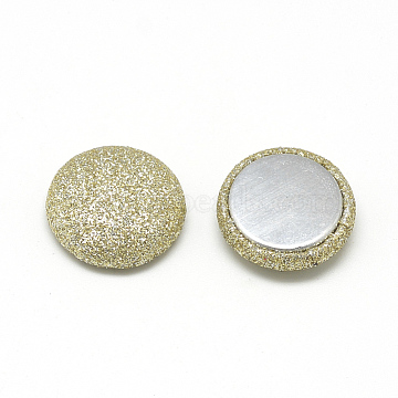 Pearly Lustre Cloth Fabric Covered Cabochons, with Aluminum Bottom, Half Round/Dome, LightKhaki, 15x5mm(X-WOVE-S084-07C)