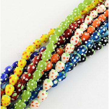 Handmade Lampwork 3D Strawberry Beads, Mixed Color, 13~16x11mm, Hole: 2mm(X-LAMP-R109B-M)