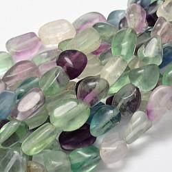 """Pépites fluorite naturelles perler brins, 13~18x10~13mm, trou: 1mm; environ 21~26 pcs/chapelet, 15.74""""(G-L288-03)"""