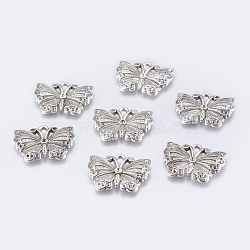 Accessoires de bijoux, Supports de cabochon de pendentif d'émail en alliage, sans plomb et sans cadmium, papillon, argent antique,  largeur de 26.5 mm, Longueur 20.5mm, épaisseur de 3mm, Trou: 2mm(X-EA263Y)