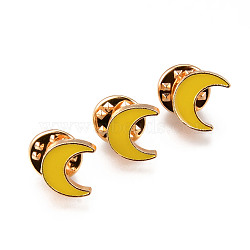 Alloy Enamel Brooches, Enamel Pin, with Brass Butterfly Clutches, Moon, Light Gold, Cadmium Free & Nickel Free & Lead Free, Gold, 11x12.5x2mm, Pin: 1mm(JEWB-N006-041-NR)