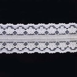 "Ruban en nylon avec garniture en dentelle pour la fabrication de bijoux, blanc, 1"" (26 mm); environ 300yards / rouleau (274.32m / rouleau)(ORIB-F003-020)"