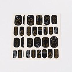 Autocollants en papier de tatouages temporaires de faux styles amovibles, métalliques ongles autocollants, or, 18~26x8~16 mm; environ 2 PCs / sac(AJEW-O025-09)