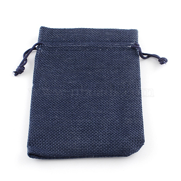 Polyester Imitation Burlap Packing Pouches Drawstring Bags, Midnight Blue, 23x17cm(X-ABAG-R005-17x23-12)