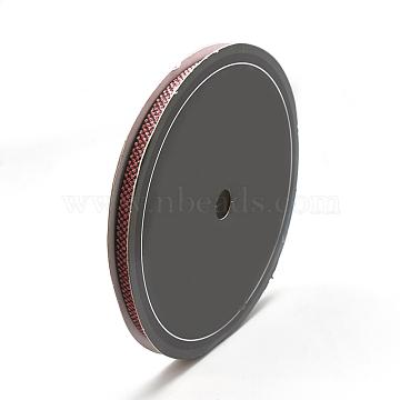 Braided Nylon Ribbons, PearlPink, 3/8inch(10mm); about 25yards/roll(22.86m/roll)(SRIB-N003-07A)