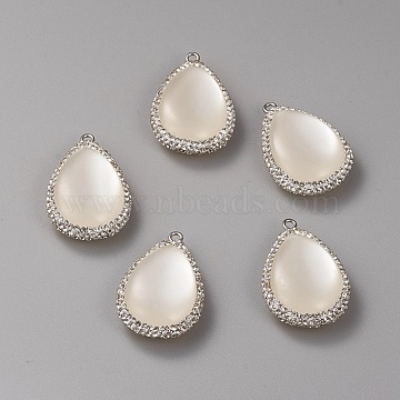 White Cat Eye Pendants, with Rhinestone and Brass Findings, Teardrop, Crystal, Creamy White, 32.4x22x10mm, Hole: 1.8mm(CE-G007-01P)
