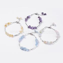 """Bracelets de perles de pierres précieuses naturelles, avec 304 chaîne torsadée en acier inoxydable, trouvaille de métal et fermoir de griffe de homard en laiton, 7-7/8"""" (200 mm)(BJEW-JB03569)"""