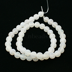 Natural Crackle Agate Beads Strands, Dyed, Round, Grade A, White, 14mm, Hole: 1mm; about 28pcs/strand, 15.7