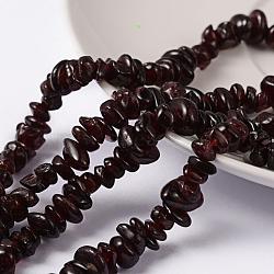 """Perles en pierres gemme, rouge grenat, puce, rouge, longueur d'environ 5~8 mm , trou: environ 0.5~0.8 mm, 36""""(X-F065)"""