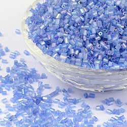 11/0 Two Cut Glass Seed Beads, Hexagon, Trans.Colours Rainbow, Blue, Size: about 2.2mm in diameter, about 37500pcs/Pound(CSDB166)