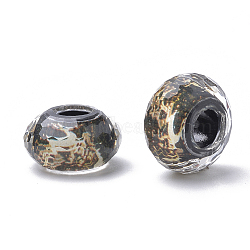 Resin Beads, Large Hole Beads, Faceted, Rondelle with Pattern, Black, 13.5~14x7.5~8mm, Hole: 5.5mm(RPDL-S013-02G)