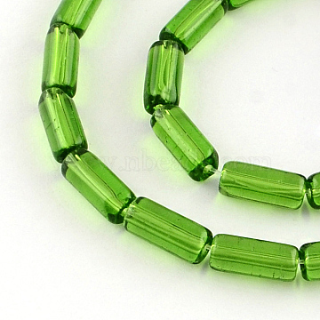 10mm Green Tube Glass Beads