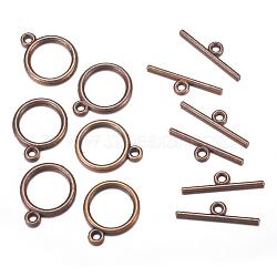 Fermoirs T de style tibétain , sans plomb et sans cadmium et sans nickel, anneau, couleur de cuivre rouge, taille: anneau: environ 15 mm de diamètre, épaisseur de 2mm, Trou: 2mm, bar: 21 mm de long, Trou: 2mm(X-TIBEP-A12208-R-FF)