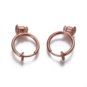 Brass Clip-on Earrings, Ring, Rose Gold, 17x13x1.5mm; Hole: 0.6mm; Pin: 1mm(EJEW-F196-07RG)