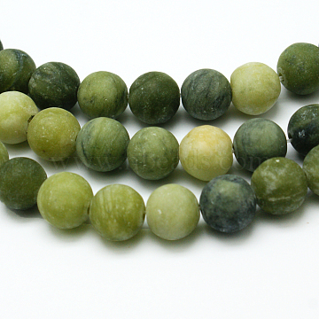 Round Frosted Natural TaiWan Jade Bead Strands, 6mm, Hole: 1mm; about 62pcs/strand, 15.5 inches(X-G-M248-6mm-02)