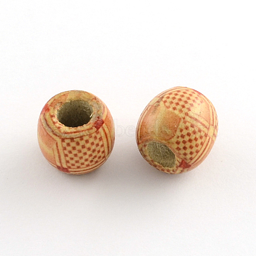 Barrel Printed Natural Wood Large Hole Beads, SandyBrown, 16~17x15~16mm, Hole: 6~7mm(X-WOOD-R243-16mm-A16)