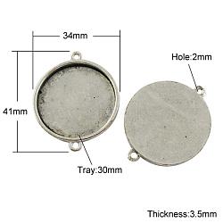 Тибетского стиля кабошон разъем сеттинг, без свинца и без никеля , плоско-круглые, античное серебро, 41x34x3.5 мм, отверстия: 2 mm; лоток: 30x30 mm(TIBE-A124212-AS-FF)