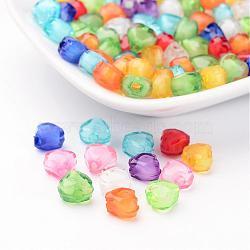 Couleur mélangée transparentes perles de coeur acryliques à facettes, Perle en bourrelet, 7x8x5mm, Trou: 2mm(X-TACR-S114-8mm-M)