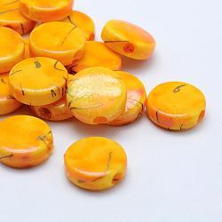 Perles acryliques d'effilage, peint à la bombe, plat rond, or, 16.5x6mm, trou: 3.5 mm; environ 500 pcs / 500 g(MACR-K331-27B)