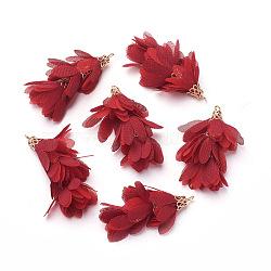 Большие подвески из железа , с шифоном, цветок, золотые, красные, 50~52x22~28 мм, отверстие : 2 мм(IFIN-G081-A17)