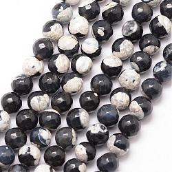 Natural Fire Agate Bead Strands, Round, Grade A, Faceted, Dyed & Heated, Black, 6mm, Hole: 1mm; about 61pcs/strand, 15inches