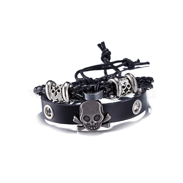 Leather Multi-strand Bracelets, with Zinc Alloy Pirate Style Skull, Black, Antique Silver, 300mm(11-7/8 inches)(BJEW-BB18112)