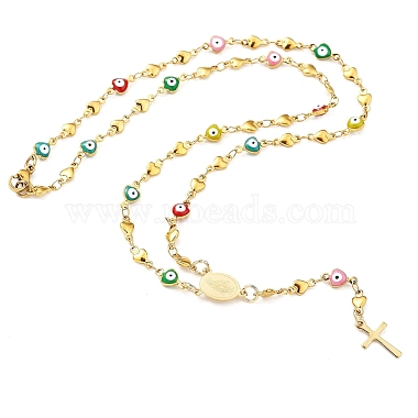 Unisex 304 Stainless Steel Rosary Bead Necklaces(NJEW-L457-001B-G)-3