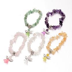 bracelets naturels pour enfants en pierre mélangée, avec perle acrylique et résultats d'alliage d'argent antique, belle robe de mariée ange dangle, 39 mm(BJEW-JB02062)