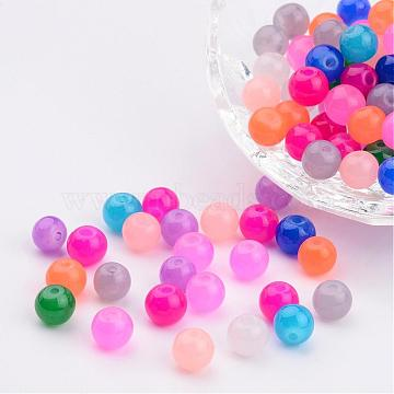 Mixed Imitation Jade Glass Round Beads, Spray Painted, 6mm, Hole: 1.3~1.6mm(X-DGLA-S076-6mm-M)