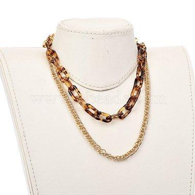 Transparent Acrylic & Aluminium Double Layer Necklaces(NJEW-JN02957)-4