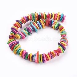 perles de copeaux de howlite naturelles, teints, couleur mélangée, 9~30x5~25x4~8 mm, trou: 1 mm(X-TURQ-L013-02)