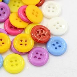 Boutons acryliques, boutons de couture en plastique pour la conception de costumes, 4-trou, teint, plat rond, couleur mixte, 12x2mm, Trou: 1mm(X-BUTT-E075-A-M)