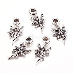 Perles européennes de pendentif en alliage , ange, argent antique, 33mm, Trou: 5mm(X-PALLOY-JF00001-09)