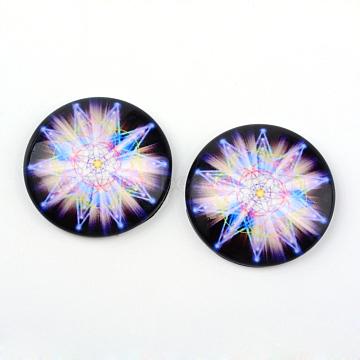 Glass Cabochons, Half Round/Dome, Kaleidoscope Pattern, Lilac, 12x4mm(X-GGLA-L012-12mm-14)