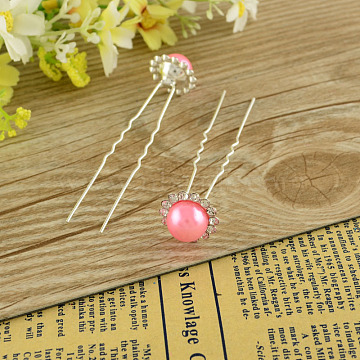 Lady's Hair Accessories Silver Color Plated Iron Rhinestone Ball Hair Forks, with ABS Imitation Pearl Beads, Pink, 77mm; 20pcs/box(PHAR-S192-07)