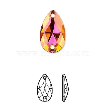 Austrian Crystal, 3230 Pear Sew-On Stone, Crystal Passions, Foil Back, Faceted, 001 API_Crystal Astral Pink, 18x10.5x4mm, Hole: 3mm(3230-10.5x18-F001API)
