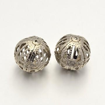Round Iron Filigree Beads, Filigree Ball, Nickel Free, Platinum, 16mm, Hole: 1mm(IFIN-N3285-05P-16mm-NF)