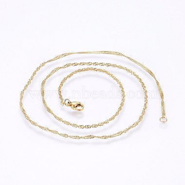 304 Stainless Steel Singapore Chain Necklaces(MAK-L015-25B)-2