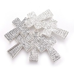 Pendentif croix style tibétain supports cabochon d'émail argent anciennes, sans plomb et sans cadmium, 70x43x4mm, Trou: 6mm(X-TIBEP-4479-AS-LF)