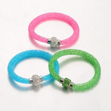 Plastic Mesh Bracelets, with Acrylic Rhinestone and Polymer Clay Rhinestone Magnetic Clasps, Mixed Color, 210x8mm(BJEW-N230-M)