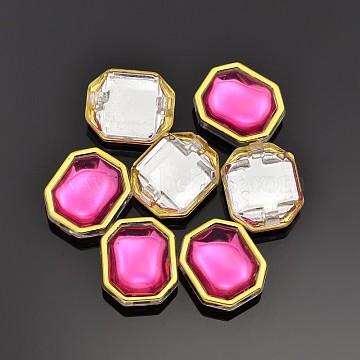 Sew on Rhinestone, Multi-strand Links, Taiwan Acrylic, Golden Plated, Garment Accessories, Rectangle, Hot Pink, 10.5x9x5.5mm, Hole: 1mm(X-SA62-6x8-ACG-24)