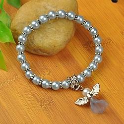 Bracelets d'ange belle avec robe de mariée pour les enfants, bracelets carnaval extensibles, avec verre perles de nacre et de perles de style tibétain, bleu ciel, 45mm(BJEW-JB00727-01)