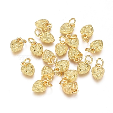 Electroplated Alloy Charms, Long-Lasting Plated, with Brass Jump Ring, Heart, Golden, 10x7x2.5mm, Hole: 3.5mm(X-PALLOY-G267-10G)