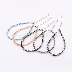 """Perles de verre facettées, avec fermoirs mousquetons en laiton  , couleur mixte, 9-3/8"""" (238 mm)(AJEW-AN00209)"""