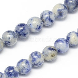 Natural Blue Spot Jasper Bead Strands, Round, 6mm, Hole: 1mm; about 68pcs/strand, 15.7inches(X-G-R193-15-6mm)