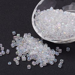 AB-Color Transparent Glass Seed Beads, Round Hole, Cube, Clear, 3~7x3x3mm, Hole: 0.5mm; about 500pcs/50g(X-SEED-R026-B01)