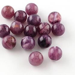 Perles rondes en acrylique d'imitation pierre précieuse, darkorchid, 8mm, Trou: 2mm(X-OACR-R029-8mm-21)
