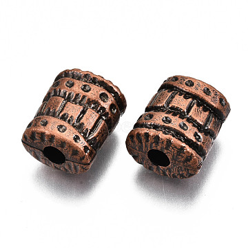 Elliptic Cylinder Antique Acrylic Beads, Large Hole Beads, Red Copper, 23x19x13mm, Hole: 5.5mm; about 120pcs/500g(PACR-S206-44R)