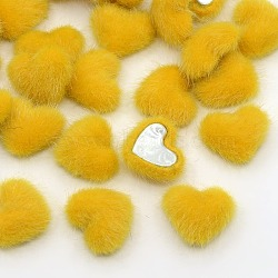 Scrapbook embellissements vêtement accessoires flatback coeur flocky tissu recouvert de tissu cabochons, avec fond en aluminium, de couleur métal platine , jaune, 17x15x6mm(X-WOVE-F010-07)
